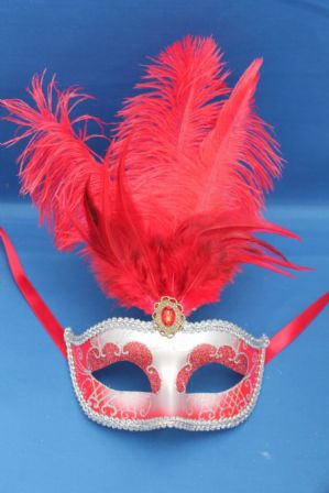 Red and Silver Masquerade Mask - Feather Mask | Masks and Tiaras